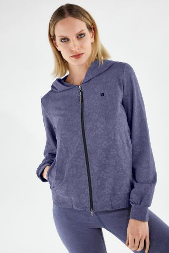 Comfort-fit floral print yoga hoodie - 100% Made in Italy