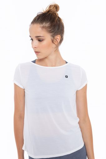 T-shirt with a deep-V neckline at the back - 100% Made in Italy