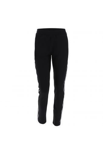 Stretch trousers with lurex jacquard tape