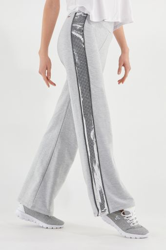 Melange grey flare trousers with lateral metallic bands