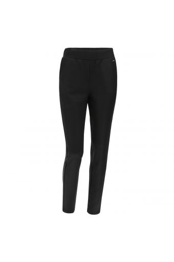Coated fleece trousers with branded lateral bands