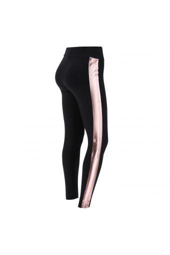 Leggings neri con bande laterali metallizzate rosa