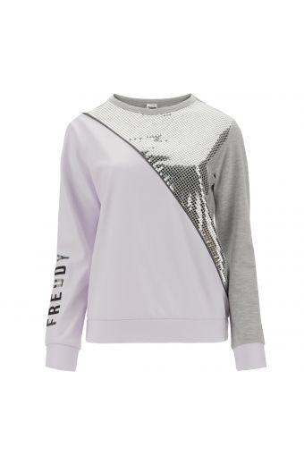 Komfort-Sweatshirt mit Rundhals und Metallic-Verzierung