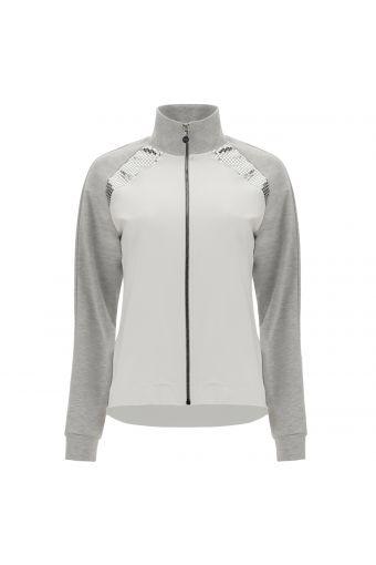Sweatshirt in Weiß und Melangegrau mit Reißverschluss und Metallic-Verzierungen