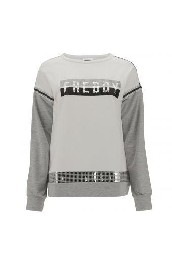 Komfort-Sweatshirt mit Glitzer-Details und rechteckigen Mininieten