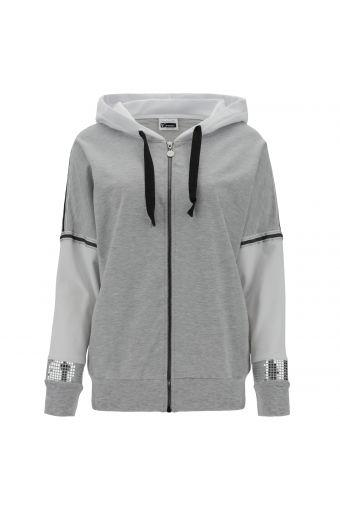 Komfort-Sweatshirt in Weiß und Melangegrau mit Kapuze und Reißverschluss