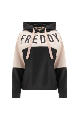 Two-tone oversize hoodie with a glitter Freddy print
