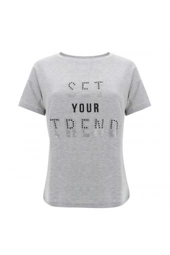 Comfort-fit melange grey t-shirt with a SET YOUR TREND decoration