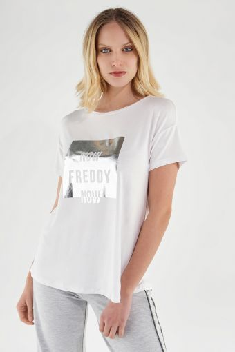 T-shirt comfort bianca con stampa argentata FREDDY NOW