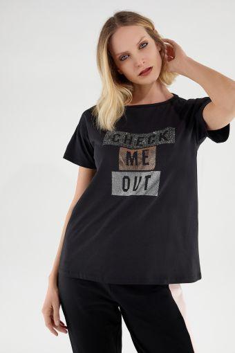 Camiseta cómoda ligera con decoración de strass