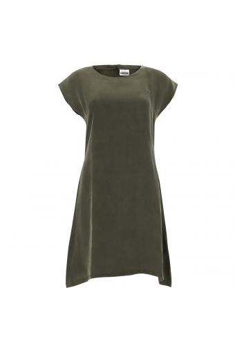 A-line cupro dress with cap sleeves