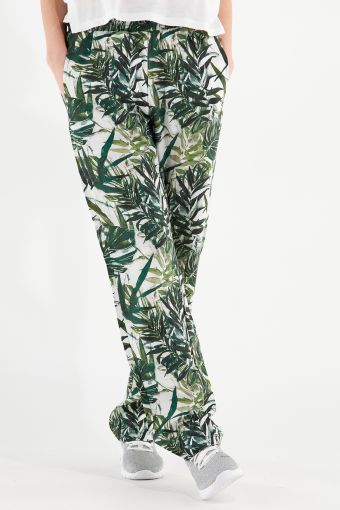 Pantalon en fibres végétales avec motif à feuilles tropicales