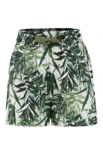 Plant-based fabric shorts with a tropical print
