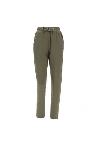 Stretch fleece trousers with a lateral glitter logo