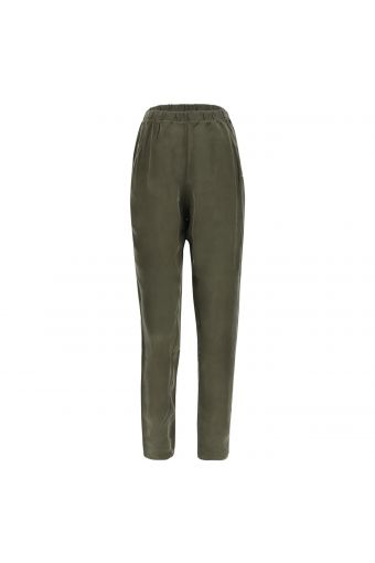 Cupro tapered trousers