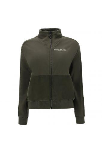 Stretch-Sweatshirt mit hohem Kragen und Details aus Cupro