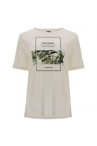 T-shirt confortable en fibre végétale avec imprimé tropical