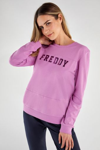 Lightweight sweatshirt with a shiny FREDDY print on the front