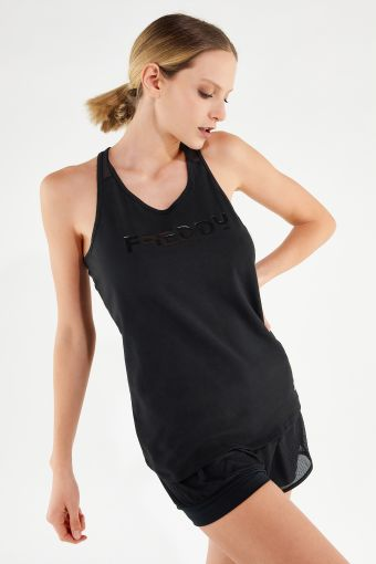 Racer back athletic tank top in black jersey and mesh