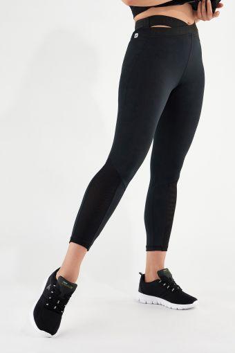 Legging de sport en tissu transpirant avec taille croisée