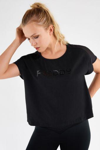 T-shirt court extra-large léger en jersey noir