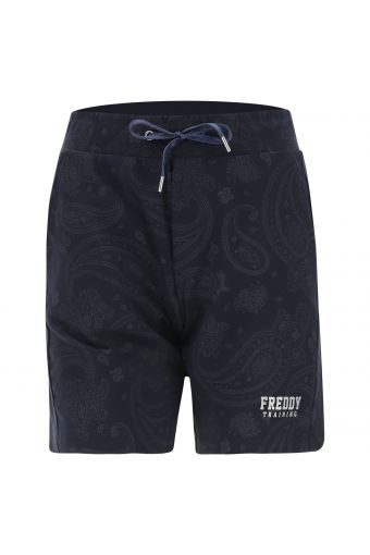 Stretch Bermuda shorts with a paisley print