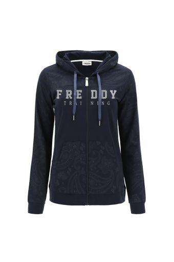 Leichtes Sweatshirt im Paisley-Muster mit Kapuze und Reißverschluss