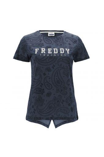 Komfort-T-Shirt mit Paisley-Muster und Glitzer-Aufdruck