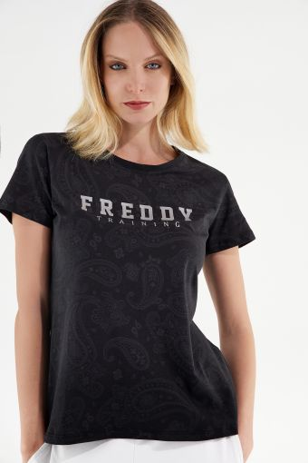 Paisley comfort-fit t-shirt with a glitter print