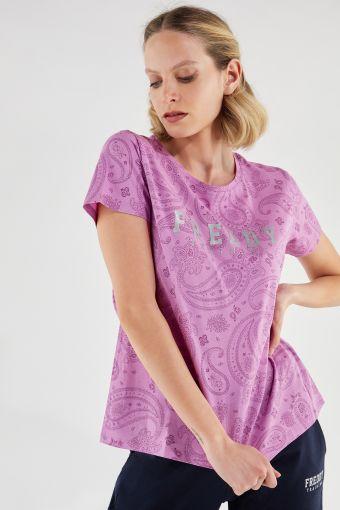 Camiseta cómoda con fantasía cachemir y estampado de glitter