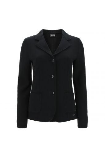 Stretch fleece blazer with a three-button closure