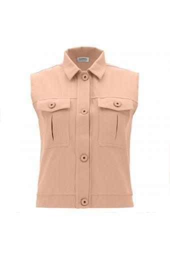 Casual pastel sleeveless jacket