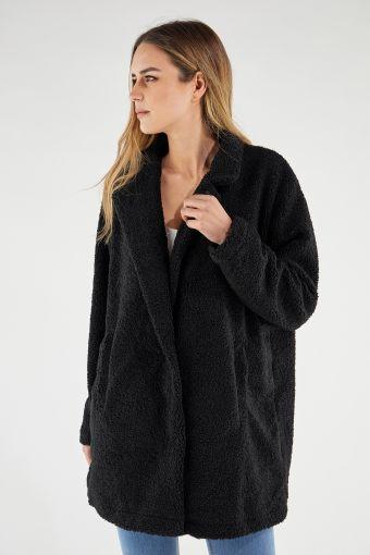 Faux fur teddy bear coat