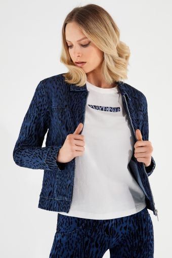 Women's animal print denim jacket with a zip