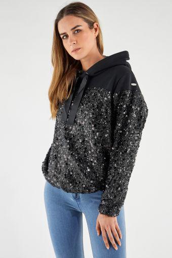 Comfort-fit hoodie with sequins