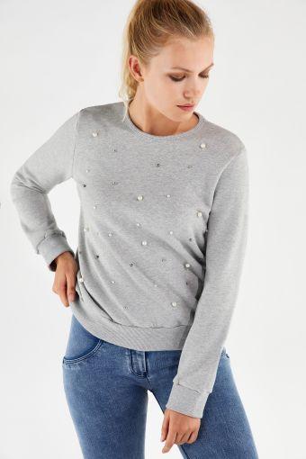 Sweat-shirt à col rond en tissu mélangé avec perles cousues
