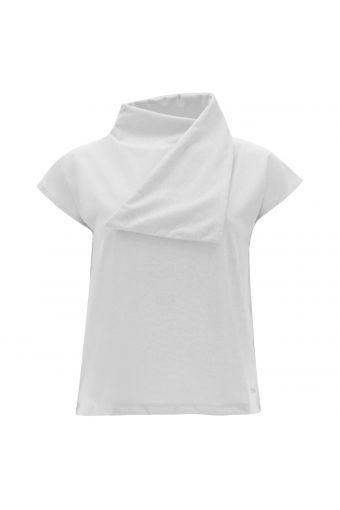 Lurex jersey t-shirt with a scarf collar