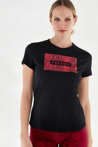 Short-sleeve t-shirt with a snake print panel