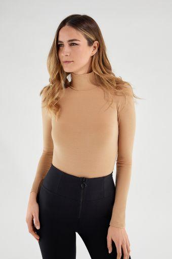 Sweat-shirt à col roulé couleur neutre