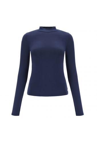 Sweat-shirt bleu foncé à col bénitier