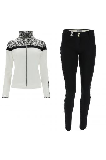 WR.UP®-IN track suit with leopard print decorations and sculpting trousers