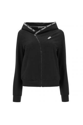 Sweatshirt mit Kapuze und schrägem Reißverschluss, verziert von einem Logo-Band