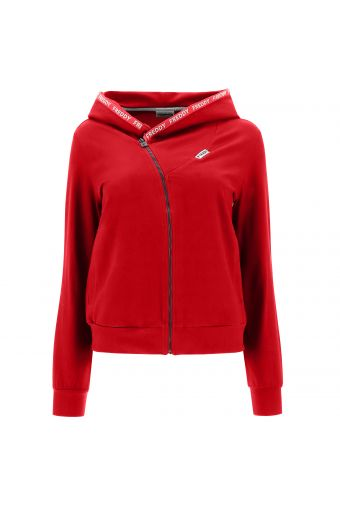 Oblique zip hoodie with branded ribbon