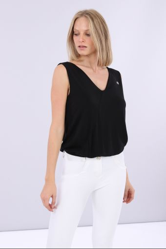 Leotard with wide low back in soft lyocell jersey