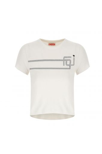 Girls' short-sleeved t-shirt with a silver logo