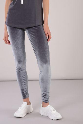 Long leggings with velvet effect