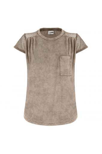 Kurzärmeliges T-Shirt mit Mesh und Rundhalsausschnitt