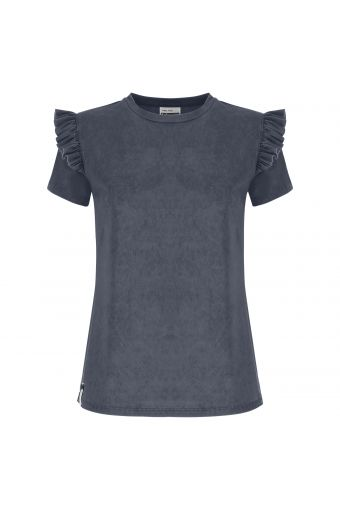 S/S t-shirt in modal with ruffled insert