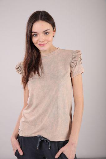 Kurzärmeliges T-Shirt aus Modalfaser mit Rüscheneinsatz