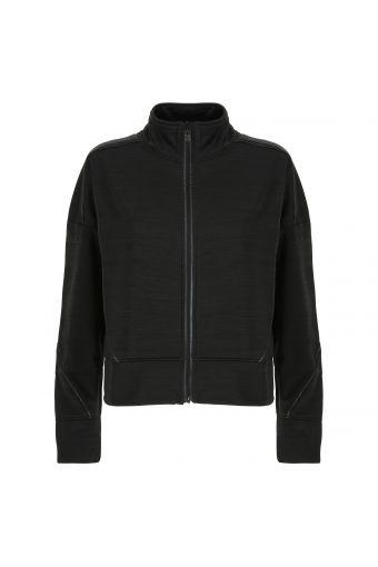 High neck comfort fit sweatshirt with satin details